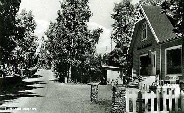 Affären i Björkhagen sedd från Handlarens väg på slutet av 40-talet