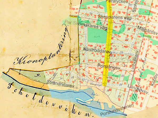 Hemmansklyvning Magnarp 6 3/16 1866 detaljplanen Björkhagen