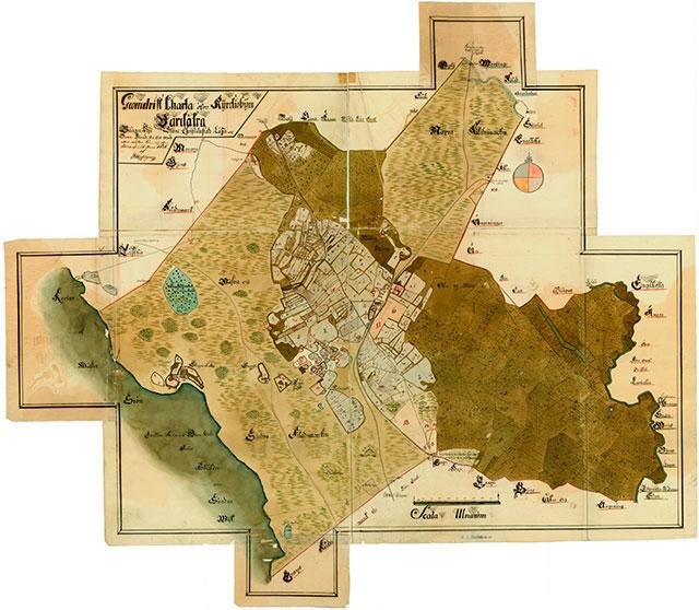Geometrisk karta över kyrkbyn Barkåkra från 1726