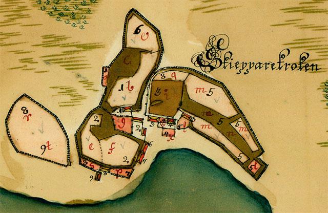 Skepparkroken på en del av en karta från 1726