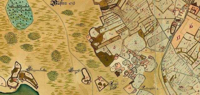 Skepparkroken och Barkåkra kyrkby på en del av en karta från 1726