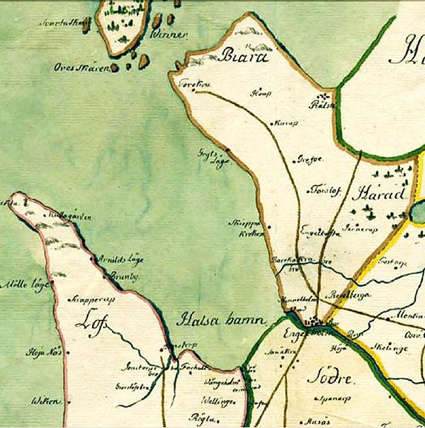 karta Bjäre Skepparkroken Skåne 1716