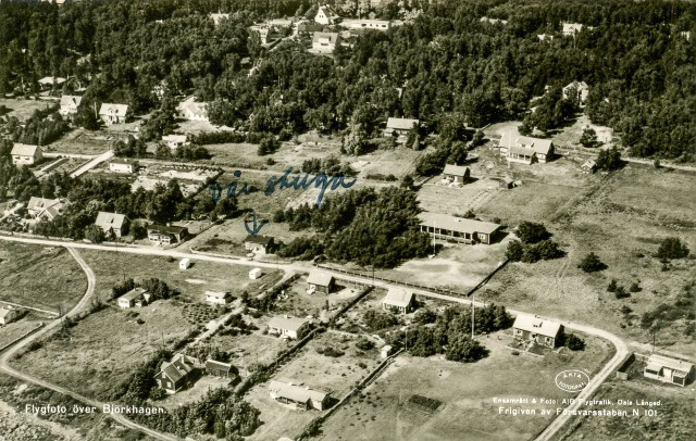 Björkhagen från luften på ett vykort postgånget 1955