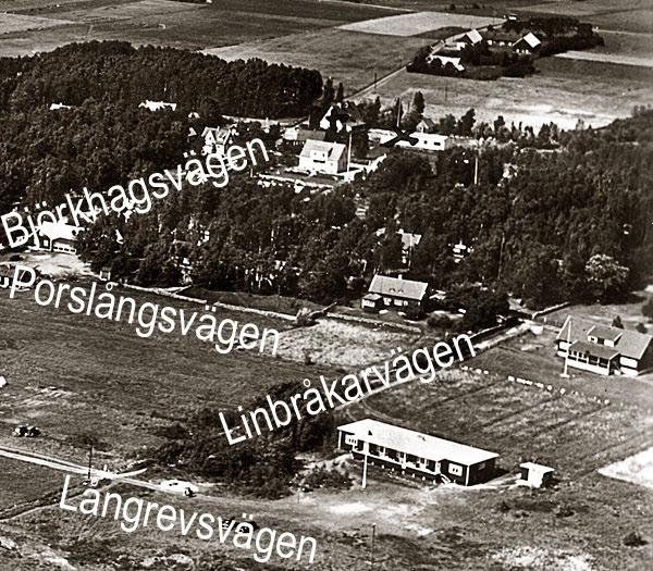 Björkhagen flygfoto 1935, högra delen av vykort med gatunamn