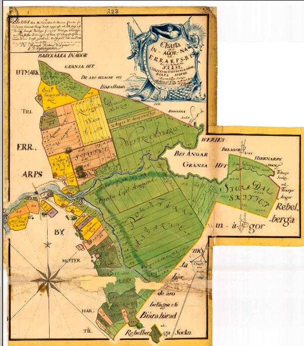 """Karta som avser """"Storskifte på inägor"""" för Errarp 1764"""