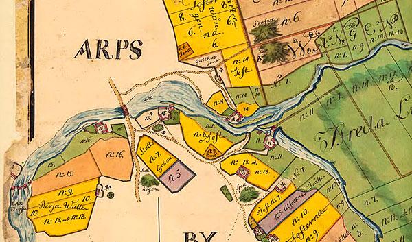 Karta för Errarp 1764, del vid Östra och Västra Kvarn
