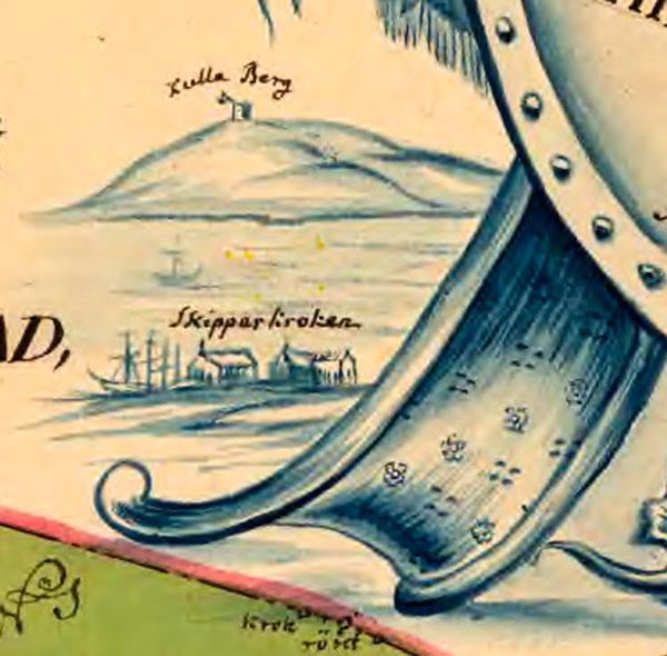 Karta för Errarp 1764, Skipparkroken, Skepparkroken, Kullen,Kulla Berg