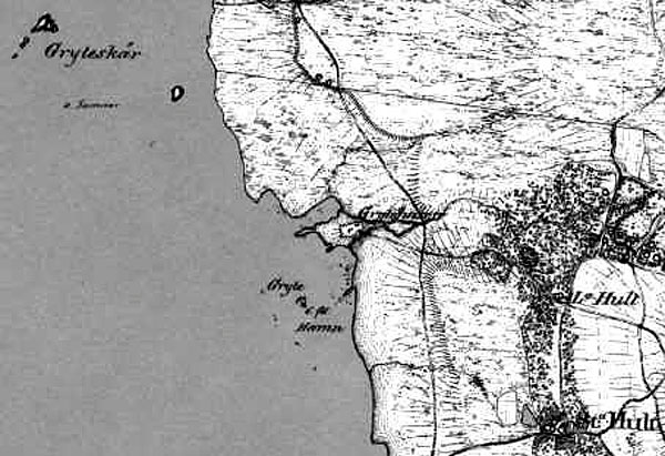 Grytehamn Gryts läge Grytan Skånska rekognoseringskartan 1809, 1810