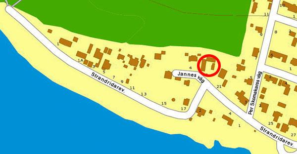 Jannes väg 2 och Strandridarevägen på Enirokarta