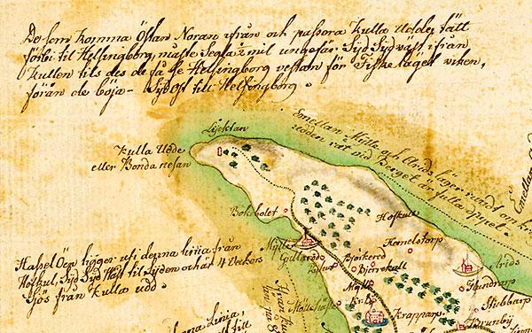 Kullen, Kulla Udde, Bondanesan, Bondenesan, Lycktan, Lykta, Lyktan, karta Skåne 1684 Gerhard Buhrman (kopia)
