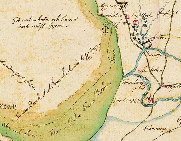 Skälderviken, Engelholm, Skepparkroken, Engeltofta, Magnarp på karta Skåne 1684 Gerhard Buhrman ; kopierad Gustaf Kock