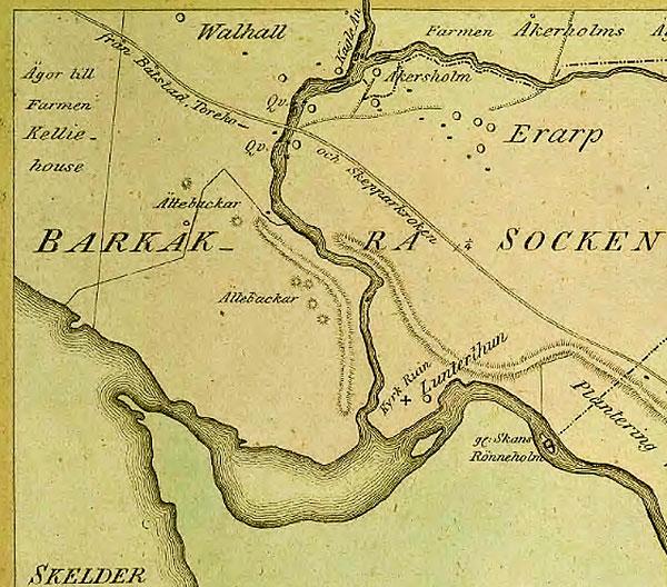 Ättebackar i Valhallskogen vid Skälderviken Errarp Barkåkra karta från 1815