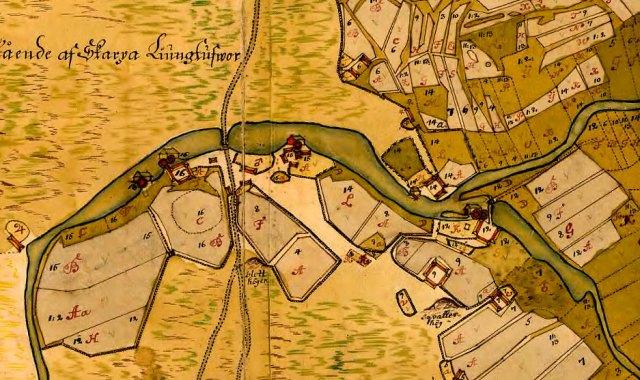 Del av geometrisk karta över Errarp 1727 Skälderviken Skelderviken