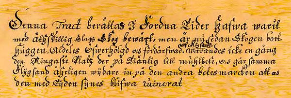 Text på geometrisk karta över Errarp 1727 Skälderviken Skelderviken
