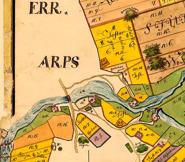 Ättehögar storskifteskarta Errarp 1764 Barkåkra Skälderviken