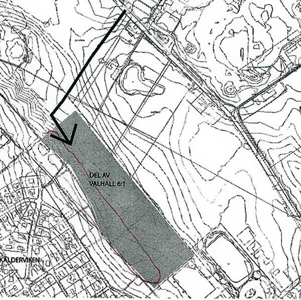 Del av ansökan från PEAB som visar del av Valhall 6:1 nära Skäldervikens samhälle