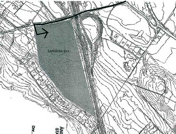 Del av ansökan från PEAB som visar Barkåkra 45:1 ovanför Skepparkroken