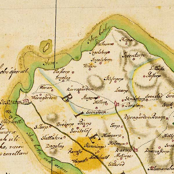 Yttre Bjäredelen av karta över Skåne - förfärdigad 1684 av Gerhard Buhrman