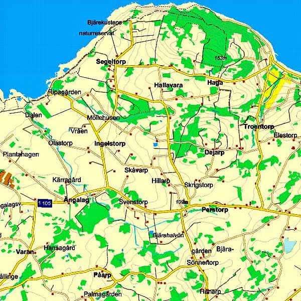 Yttre Bjäredelen av karta över Skåne - från hitta.se 2010