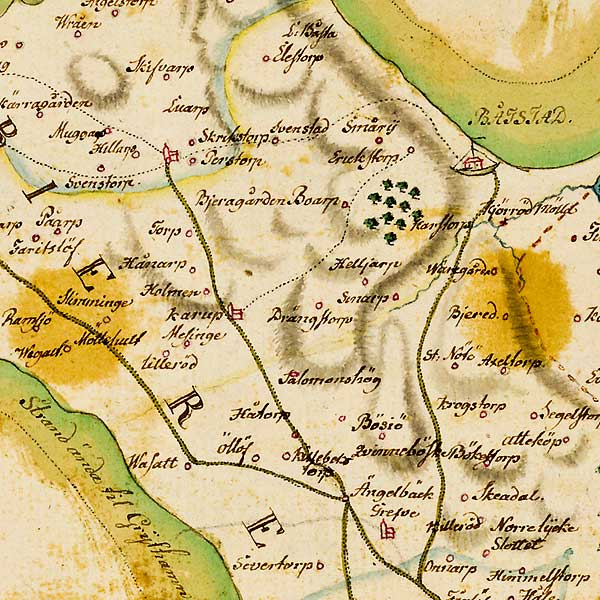 Näst yttersta Bjäredelen av karta över Skåne - förfärdigad 1684 av Gerhard Buhrman
