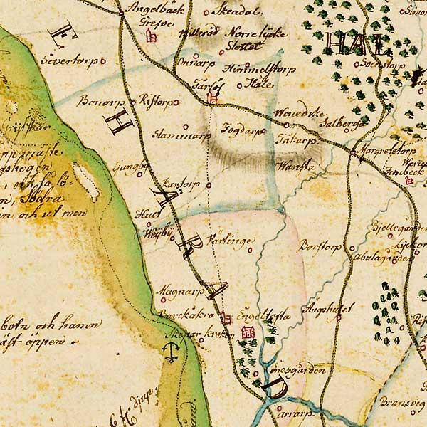 Näst innersta Bjäredelen av karta över Skåne - förfärdigad 1684 av Gerhard Buhrman