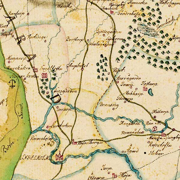 Inre Bjäredelen av karta över Skåne - förfärdigad 1684 av Gerhard Buhrman