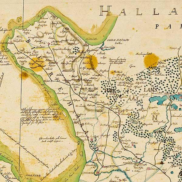 Bjäredelen av karta över Skåne - förfärdigad 1684 av Gerhard Buhrman