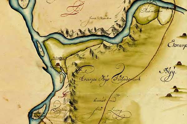 Luntertun på Lantmäteriets historiska karta från 1739