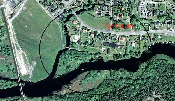 Luntertun vid Rönne å på flygfoto från Eniro