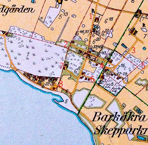 Björkhagen år 1928 på den Häradsekonomiska kartan