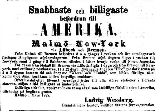 Annons om emigrantresor i Norra Skåne 31 mars 1882
