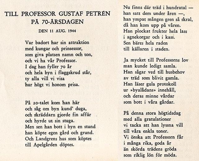 Mina Svenssons hyllningsdikt till Gustaf Petréns 70-årsdag