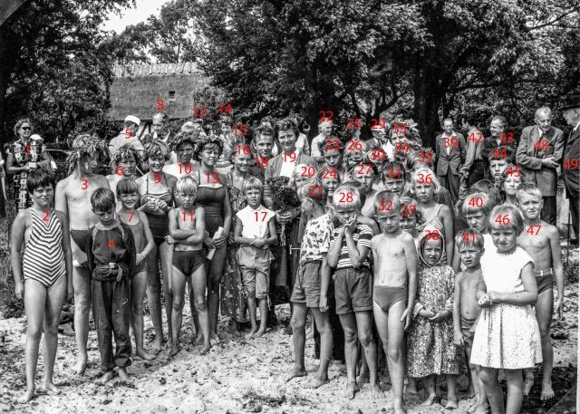 Simpromotion i Skepparkroken år 1956 - numrerat foto