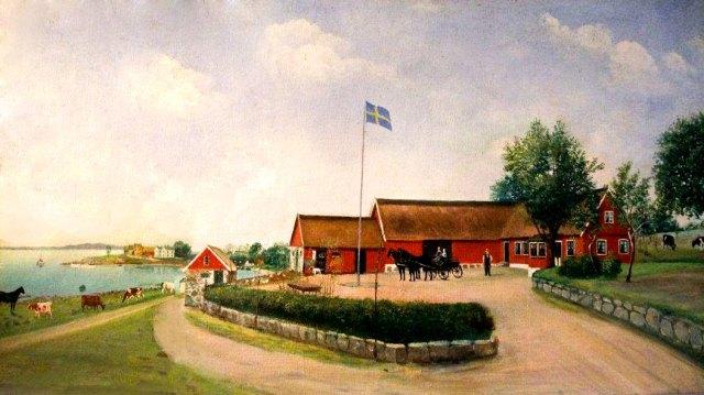 Thörns gård i Skepparkroken på gåramålning från c:a 1908