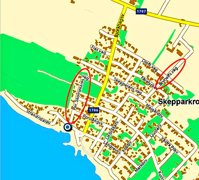 Björkhagen på en karta från Eniro