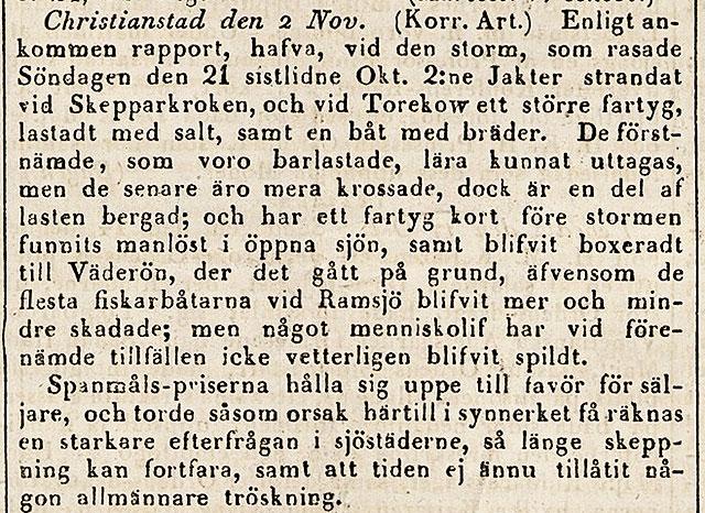 Notis om storm från Post- och Inrikes Tidningar 1838-11-07