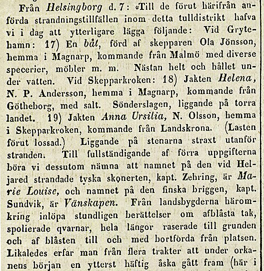 Notis om storm från Post- och Inrikes Tidningar 1852-10-12