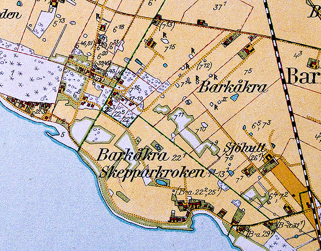 Skepparkroken och Björkhagen på Häradsekonomiska kartan från 1928