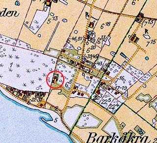 Björkhagen 1928 - Villa Mathilda och Brynolfs hus är inringade