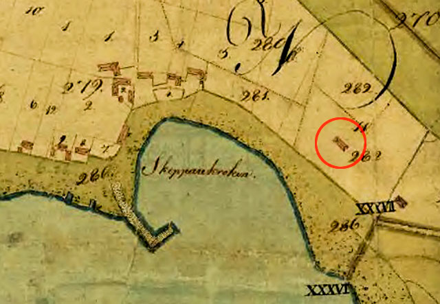 Skepparkroken 1809 med hus på Almgårdens tomt inringad