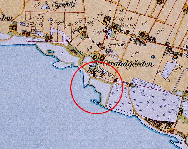 Magnarps Strand på 1920-talets Häradsekonomiska karta