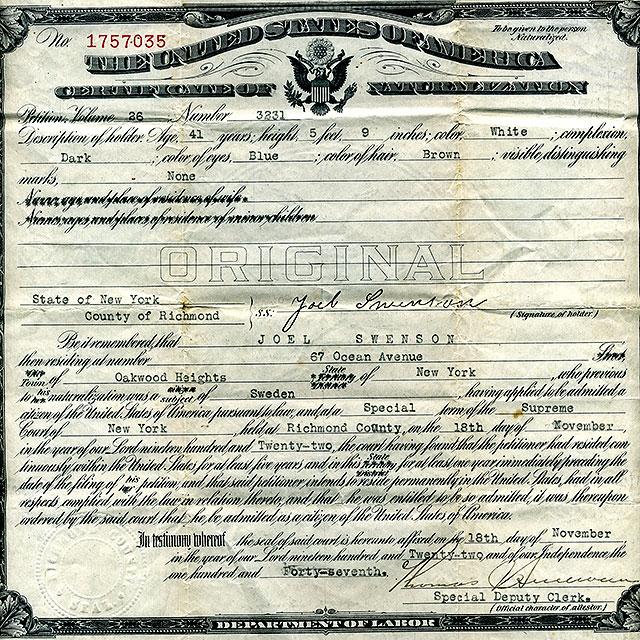 Joel Svenssons dokument om medborgarskap i USA från 1922