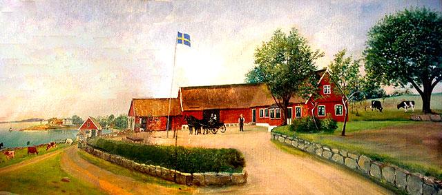 Gåramålning av Thörns gård i Skepparkroken från c:a 1910
