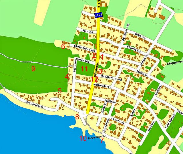 Björkhagen utanför Ängelholm på en karta från Eniro