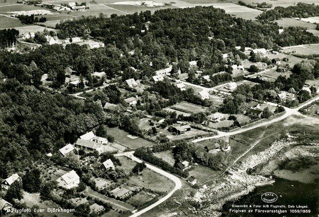 Björkhagen från luften i slutet på 1950-talet