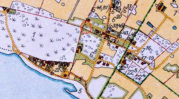 Rombergs tomt i Björkhagen markerad på Häradsekonomiska kartan från 1926