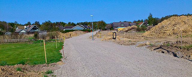 Östra Pilkvägens förlängning till Kustroddarevägen i Skepparkroken i april 2011