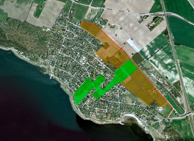 Barkåkraplanen inritad på satellitbild över Björkhagen och Skepparkroken (från Google)