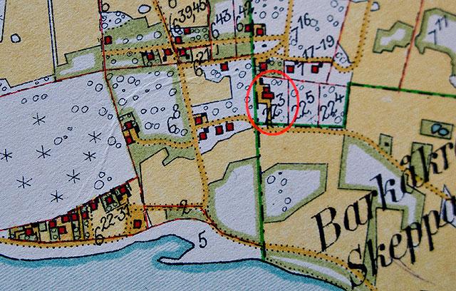 Björkhagen år 1926 på Häradsekonomiska kartan - Lundakolonin inringad