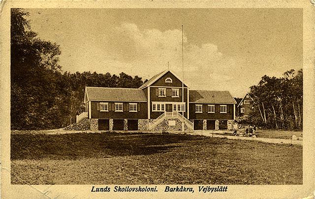 Lunds skollovskoloni i Björkhagen på ett vykort från 1930-talet